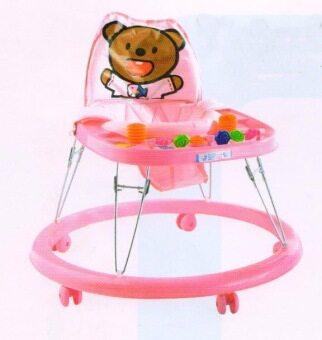 Tomodaji Baby รถหัดเดิน หลังพิงหมี สี ชมพู