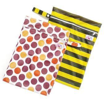 BABYKIDS95 ถุงผ้ากันน้ำ 1 ช่อง สำหรับใส่ผ้าอ้อม หรือผ้าเปียก เซ็ท 2 ชิ้น (ลายจุดน้ำตาล/ลายทางเหลืองดำ)