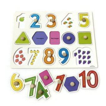BAANPLOYจิ๊กซอว์หมุดไม้ชุดตัวเลข 1 - 10 และรูปทรง