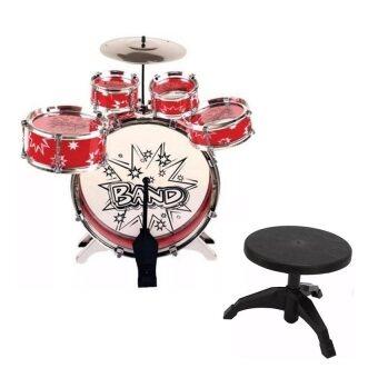 Little Pumpking ของเล่นเสริมพัฒนาการ ชุดกลอง 5 ใบ + เก้าอี้ (สีแดง)