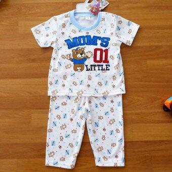 Baby Elegance ไซส์ 2 (6-12 เดือน) ชุดนอน เด็กผู้ชาย เซ็ต 2 ชิ้น เสื้อแขนสั้นลายลูกสุนัขเล่นเบสบอล กางเกงขายาว