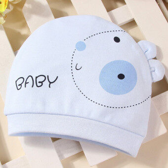 Harga Newborn Baby Hat Pure cotton Infant Cap New Born Clothing & Accessories Rabbit pattern Blue