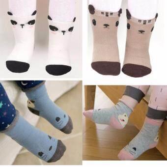 ถุงเท้าเด็ก มีกันลื่น แพ็ค 4 คู่ 4 ลาย อายุ 0-4 ปี # 0007