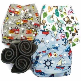 BABYKIDS95 กางเกงผ้าอ้อมกันน้ำ+แผ่นซับชาโคล Size:3-16กก. เซ็ท3ตัว (Grey Fire Truck,Owl,Blue Boat)