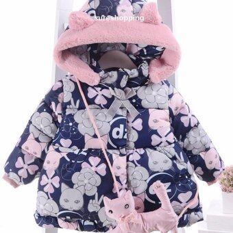 เสื้อกันหนาวเด็กเสื้อหนาวเด็ก เสื้อโค้ทเด็ก เสื้อผ้าเด็กผู้หญิง ชุดเด็กผู้หญิง เสื้อคลุมเด็ก สีกรม ลายแมว