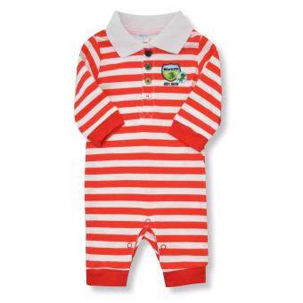 Babybrown ชุดบอดี้สูทเด็ก แขนยาว, ขายาว สีแดง สำหรับเด็กแรกเกิด - 3 เดือน