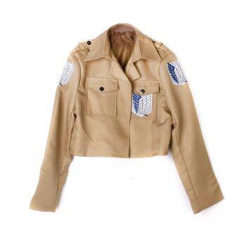 โจมตีปีกของเสรีภาพบนไททันชุดแจ็คเก็ตเสื้อนอกคอสเพลย์ขนาด L