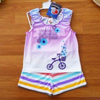 Lulu Caty ไซส์ 4 (3-4 ปี) เสื้อผ้า เด็กผู้หญิง เซ็ต 2 ชิ้น เสื้อกล้ามกุ้นขอบยางยืดเด็กหญิง ผ้าสีสไลด์โทนม่วงฟ้า ลายจักรยานกางเกงขาสั้นสีสดใสเอวยางยืด