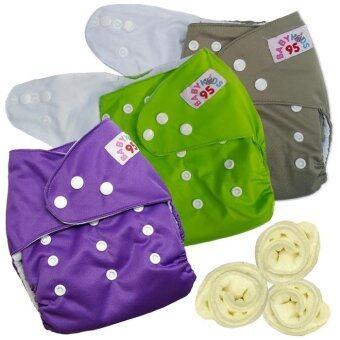 กางเกงผ้าอ้อมกันน้ำ+แผ่นซับไมโครฯ Size:3-16กก. เซ็ท3ตัว (Grey/Green/Purple)(Multicolor Others)