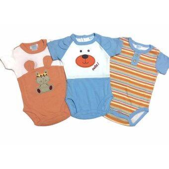 LITTLE BABY M เสื้อผ้าเด็กเล็ก บอดี้สูท set หมีสีฟ้าส้ม 3 ตัว