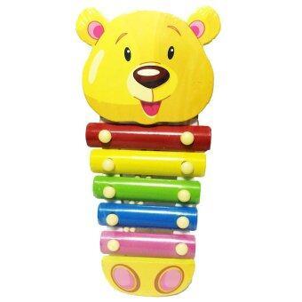 ของเล่นไม้เสริมพัฒนาการ ระนาดดนตรี ของเล่นสำหรับเด็ก (ลายหมีสีเหลือง) - Wooden Xylophone Toy (Yellow Bear)