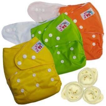 กางเกงผ้าอ้อมกันน้ำ+แผ่นซับไมโครฯ Size:3-16กก. เซ็ท3ตัว (Orange/Green/Yellow)