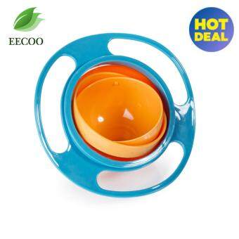 360 Degree Rotating Baby Food Eating Bowl Cute Toy Universal Kids Spill-Proof Feeding Tableware- blue - intl