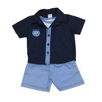 ฺBaby เซ็ทเสื้อผ้าเด็กชาย 3ชิ้น ( เสื้อเชิ๊ต+เสื้อกล้าม+กางเกง ) สีกรม/ฟ้า