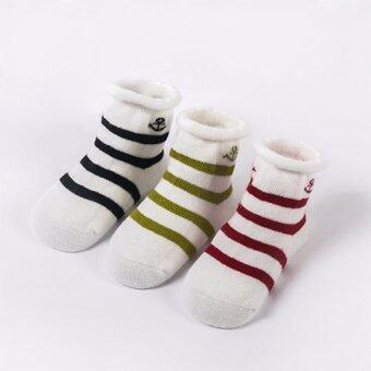 Baby Touch ถุงเท้าเด็ก ยาวบาง เซตก้าวก้าว 3 คู่ (สมอ ดำ/เขียว/แดง)