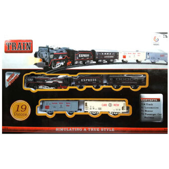 Kids Toys ของเล่น ชุดรถไฟโบราณพร้อมรางและอุปกรณ์รวม 19 ชิ้น มีไฟหน้า