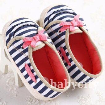 รองเท้าหัดเดิน รองเท้าเด็กอ่อน รองเท้าเด็กพื้นผ้า baby shoe Prewalker ของใช้เด็กอ่อน รองเท้าทารก รองเท้าเด็กเล็ก ลายทาง
