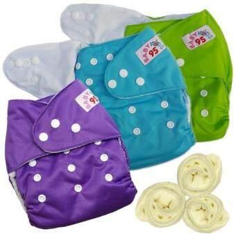 กางเกงผ้าอ้อมกันน้ำ+แผ่นซับไมโครฯ Size:3-16กก. เซ็ท3ตัว (Green/Blue/Purple)+B4:BB4:B16