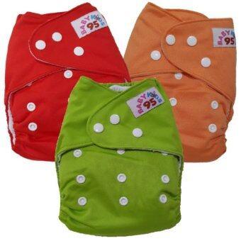 BABYKIDS95 กางเกงผ้าอ้อม ซักได้ กันน้ำ รุ่นดีลักส์-สีพื้น ไซส์เด็ก 3-16กก.S3021 เซ็ท 3ตัว