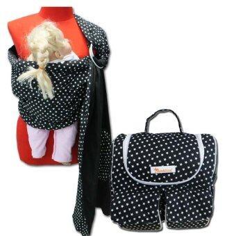 PalmandPond ผ้าอุ้มแบบห่วง ลายที่ 4+กระเป๋าคุณแม่ลูกอ่อนเก็บอุณหภูมิ ลายดาวขาว