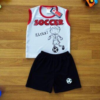 Periquita ไซส์ 4 (3-4 ปี) เสื้อผ้า ชุดกีฬา เด็กผู้ชาย แขนกุด เซ็ต 2 ชิ้น เสื้อแขนกุดสีเทาอ่อน กางเกงขาสั้น ลายเด็กเตะฟุตบอล