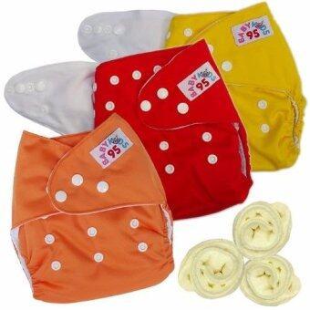 กางเกงผ้าอ้อมกันน้ำ+แผ่นซับไมโครฯ Size:3-16กก. เซ็ท3ตัว (Yellow/Red/Orange)