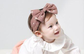 Harga New Fashion Cotton Wave point Bowknot Baby Headbands Baby Girl Elastic Hair Bands-Pink - intl