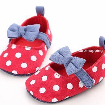 รองเท้าหัดเดิน รองเท้าเด็กอ่อน รองเท้าเด็กพื้นผ้า baby shoe Prewalker ของใช้เด็กอ่อน รองเท้าทารก รองเท้าเด็กเล็ก รองเท้าบูทเด็กอ่อน สีแดง ลายจุด