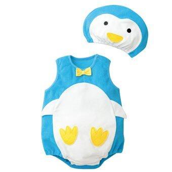 นิวแฟชั่นเสื้อกันหนาวเด็กเสื้อรูปแบบการ์ตูนกับหมวกสีฟ้านกเพนกวิน