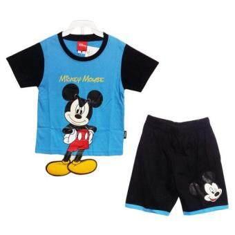 Disney MICKEY MOUSE เสื้อผ้าเด็กชุด มิกกี้เมาส์ ตรงมือเป็นกระเป๋าเสื้อและขาห้อยฟองน้ำ (สีฟ้า/น้ำเงิน) A1580