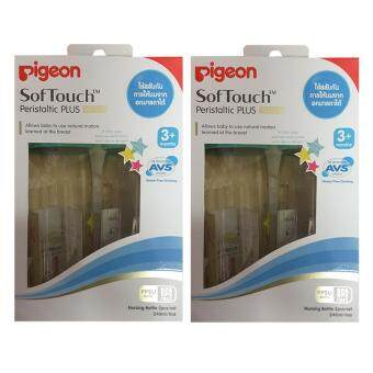 Pigeon ขวดนมสีชา PPSU ลายสตาร์ ขนาด 240มล. พร้อมจุกนมเสมือน รุ่นพลัส SofTouch ไซส์ M 2ขวด/แพ็ค(2แพ็ค)
