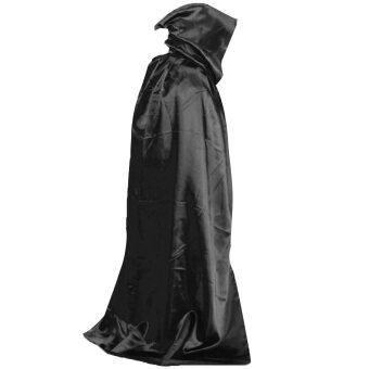 ปีศาจชุดคลุมแวมไพร์แดร็กคูล่าวิกกายาวผ้าพันคอผ้าคลุมไหล่ hoodie สำหรับวันฮาโลวีนแต่งตัวชุดแฟนซีบทบาทละครฉากสีดำ