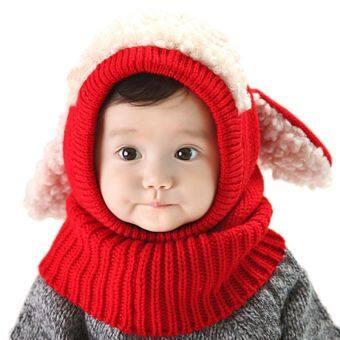 พวกเด็กผู้หญิงสวมหมวกฤดูหนาวลูกสุนัขหูหมวก Kintted เพศทารกอ่อนผ้าพันคอสีแดง