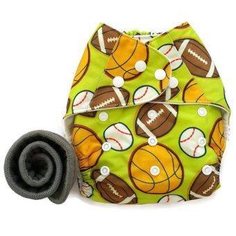 BABYKIDS95 กางเกงผ้าอ้อมกันน้ำ+แผ่นซับชาโคล Size:3-16กก. (Green Balls)