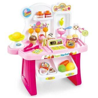 BaByBlue Toy ของเล่น Mini Market play set ร้านขายไอติมและขนมหวาน (สีชมพู)