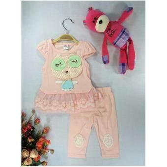 ple shop เสื้อลายการ์ตูนแต่งชายลูกไม้+กางเกงเลคกิ้ง สีชมพู