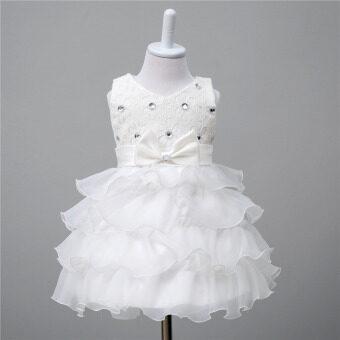 โอ้หญิงสาวแต่งตัวชุดผ้าลูกไม้จีบเจ้าหญิงดอกไม้สำหรับงานแต่งงานงานแต่ง