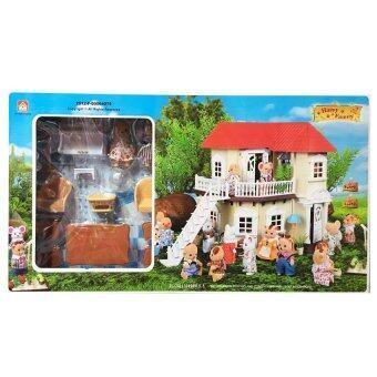 Worktoys บ้านตุ๊กตากระต่าย 2 ชั้น Happy Family พร้อมอุปกรณ์