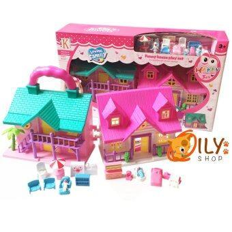 Dream House บ้านตุ๊กตาสองชั้น สีสันสดใส พกพาสะดวก พับเป็นกระเป๋าหิ้วได้ สีชมพู-ม่วง