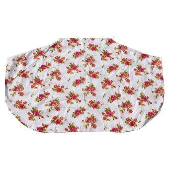 HPTJ ผ้าคลุมให้นมแบบเต็มตัว สีขาว ผ้าคอตตอนพิมพ์่ลายดอกกุหลาบสีชมพู