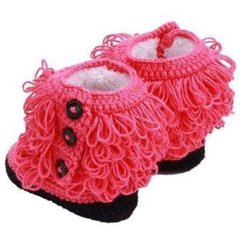 หญ้าคา 1 คู่รองเท้าเด็กรองเท้าเด็กมีฝีมือพู่แตงโมสีแดง