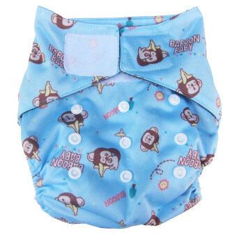 Baboon baby กางเกงผ้าอ้อมซักได้เอวเทป ฟรีไซส์(แรกเกิด-2ขวบ) พร้อมแผ่นซับชาโคลแบมบู 5ชั้น - สีฟ้า