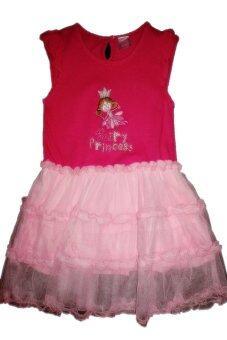 Pangpond_shop เดรสแขนกุดระบายปักลาย fairy princess - สีชมพู
