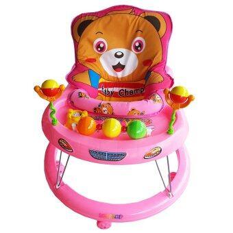 รถหัดเดินเบาะหมี มีดนตรี+ของเล่น (สีชมพู)