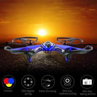 DRONE ทรงสปอร์ต โดรนติดกล้องเม็ม 720p มีระบบกลับทางหน้าหลังในปุ่มเดียว (อัดวีดีโอในเม็มการ์ด) สีน้ำเงิน
