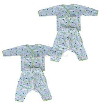 Babi Care ชุดเด็กอ่อนแขนยาว แบบกระดุมหน้า+กางเกงต่อเป้า เเรกเกิด สีเขียว (1 ชุด)
