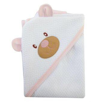 First-wear ผ้าห่อตัวเด็ก ผ้า Sandwich ผืนใหญ่ ลายหัวหมีน่ารัก (สีขาว-ชมพู)