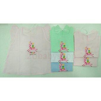 Babie Four เสื้อผ้าป่านเด็กหญิงแบบผูกหลังลายยีราฟ แพ็ค 6 ตัว