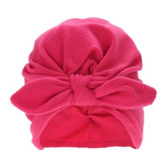 Harga Baby Soft Cotton Knot Rabbit Ears Stretchable Cap Beanie (Rose Red) - intl