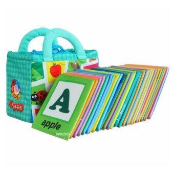 แฟลชการ์ดผ้า ABC สำหรับเด็กเล็ก แผ่นการเรียนรู้สำหรับเด็กเล็ก หนังสือผ้าสำหรับเด็กเล็ก แผ่นภาพคำศัพท์ภาษาอังกฤษและภาษาจีน